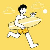 Μάγκα κινούμενων σχεδίων surfer απεικόνιση αποθεμάτων