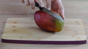 Μάγκο φετών χεριών του θηλυκού αρχιμάγειρα στον ξύλινο τέμνοντα πίνακα απόθεμα βίντεο