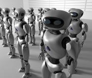 Μάζα πολλών ρομπότ Ένα πλήθος του αρρενωπού cyborg τρισδιάστατος δώστε απεικόνιση αποθεμάτων