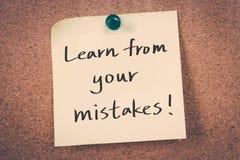 Μάθετε από τα λάθη σας Στοκ εικόνα με δικαίωμα ελεύθερης χρήσης