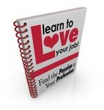 Μάθετε να αγαπάτε την εκτίμηση Satis σταδιοδρομίας εργασίας κάλυψης βιβλίων εργασίας σας διανυσματική απεικόνιση