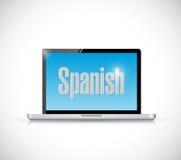 Μάθετε τα ισπανικά στην έννοια υπολογιστών σας απεικόνιση αποθεμάτων