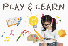 Μάθετε την έννοια εικονιδίων εκμάθησης εκπαίδευσης παιχνιδιού Στοκ φωτογραφία με δικαίωμα ελεύθερης χρήσης