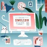 Μάθετε την αγγλική σε απευθείας σύνδεση γλώσσα εκπαίδευσης Εργασιακός χώρος, υπολογιστής γραφείου ελεύθερη απεικόνιση δικαιώματος