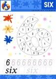 Μάθετε τους αριθμούς 6 έξι Τα παιδιά μαθαίνουν να μετρούν το φύλλο εργασίας Εκπαιδευτικό παιχνίδι παιδιών για τους αριθμούς επίση απεικόνιση αποθεμάτων