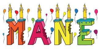 Μάιν θηλυκό κέικ γενεθλίων ονόματος δαγκωμένο ζωηρόχρωμο τρισδιάστατο γράφοντας με τα κεριά και τα μπαλόνια Στοκ Εικόνες