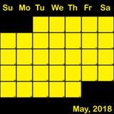 2018 Μάιος κίτρινος στο μαύρο ημερολόγιο αρμόδιων για το σχεδιασμό μεγάλο ελεύθερη απεικόνιση δικαιώματος