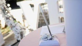 Μάνδρα για τη γαμήλια τελετή, υπόβαθρο γαμήλιων αψίδων απόθεμα βίντεο