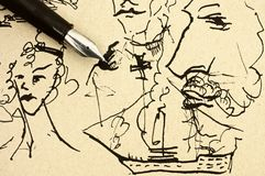 Μάνδρα πηγών σε παλαιό χαρτί με το δείγμα σχεδίων χεριών μελανιού Στοκ Φωτογραφία