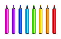 Μάνδρες δεικτών, κόκκινο, πράσινος, κίτρινος, πορφυρός, μπλε Διανυσματικά ζωηρόχρωμα highlighters συνόλου Εργαλείο μολυβιών σχεδί διανυσματική απεικόνιση