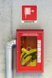 Μάνικα πυρκαγιάς έκτακτης ανάγκης ή στόμιο υδροληψίας στοκ εικόνες