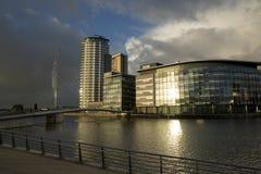 Μάντσεστερ, μεγαλύτερο Μάντσεστερ, UK, τον Οκτώβριο του 2013, άποψη του κτηρίου BBC στην πόλη MEDIA στοκ φωτογραφία