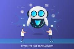 Μάρκετινγκ Διαδικτύου, έξυπνο μάρκετινγκ BOT, βοήθεια φωνής, συνομιλία BOT, αυτοματοποιημένη έννοια τεχνολογίας υπηρεσιών στοκ φωτογραφία