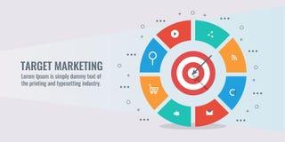 Μάρκετινγκ επιχειρησιακών στόχων, στόχος στόχων, επίτευγμα, επιτυχία, infographic, με τα εικονίδια και τα στοιχεία απεικόνιση αποθεμάτων