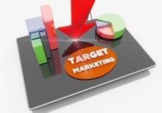 Μάρκετινγκ στόχων στην ταμπλέτα Στοκ εικόνες με δικαίωμα ελεύθερης χρήσης