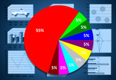 Μάρκετινγκ & χρηματιστική στατιστική με το γραφικό διάγραμμα στο μπλε Στοκ Φωτογραφία
