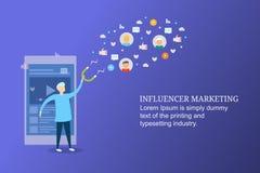 Μάρκετινγκ Influencer, κοινωνική δέσμευση μέσων, που προσελκύει το νέο ακροατήριο, προερχόμενη από ιό ικανοποιημένη έννοια διανυσματική απεικόνιση