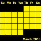 2018 Μάρτιος κίτρινος στο μαύρο ημερολόγιο αρμόδιων για το σχεδιασμό μεγάλο απεικόνιση αποθεμάτων