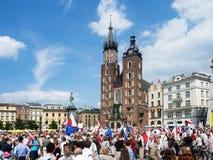 Μάρτιος της ελευθερίας στην Κρακοβία, Πολωνία Στοκ Φωτογραφίες