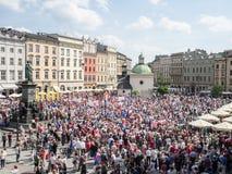 Μάρτιος της ελευθερίας στην Κρακοβία, Πολωνία Στοκ Εικόνες