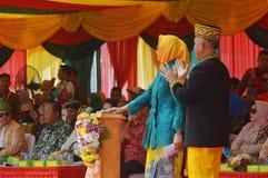 Μάρτιος του πολιτισμού αρχιπελαγών - APEKSI 2018 στην πόλη Tarakan στοκ εικόνα με δικαίωμα ελεύθερης χρήσης