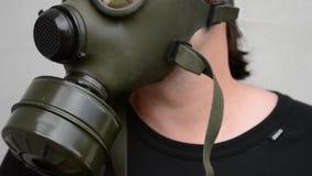 Μάσκα αερίου επάνω απόθεμα βίντεο