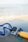 Μάσκα και βατραχοπέδιλα στην άμμο Στοκ φωτογραφία με δικαίωμα ελεύθερης χρήσης