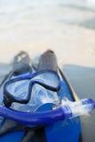 Μάσκα και βατραχοπέδιλα στην άμμο στοκ φωτογραφίες με δικαίωμα ελεύθερης χρήσης