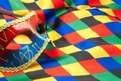 Μάσκα και ύφασμα του harlequin Στοκ Εικόνες