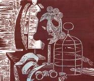 Μάσκα, κούκλα και κόρακας σε ένα κλουβί Στοκ φωτογραφία με δικαίωμα ελεύθερης χρήσης