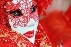 μάσκα κόκκινος Βενετός λεπτομέρειας Στοκ εικόνα με δικαίωμα ελεύθερης χρήσης