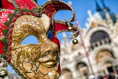 Μάσκα του κλόουν στη Βενετία καρναβάλι 2018 Στοκ Εικόνα