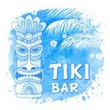 Μάσκα Tiki στο υπόβαθρο Watercolor Στοκ φωτογραφία με δικαίωμα ελεύθερης χρήσης