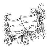 Μάσκες, δράμα και κωμωδία θεάτρων ελεύθερη απεικόνιση δικαιώματος