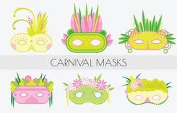μάσκες καρναβαλιού που &t Μάσκες μεταμφιέσεων στο επίπεδο ύφος δέντρο απεικόνισης συνδετήρων ανθών τέχνης Στοκ Εικόνα