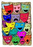 Μάσκες, δράμα και κωμωδία θεάτρων διανυσματική απεικόνιση