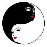 Μάσκες. Σύμβολο Ying yang Στοκ φωτογραφία με δικαίωμα ελεύθερης χρήσης