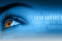 Μάτια γυναικών δίπλα στο δυαδικό κώδικα Στοκ Εικόνα