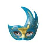 Μάτια γυναικών πίσω από τη ζωηρόχρωμη μάσκα καρναβαλιού Στοκ Εικόνες