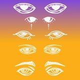 Μάτια και καθορισμένη διανυσματική συλλογή εικονιδίων ματιών Κοιτάξτε και εικονίδια οράματος Απομονωμένη διανυσματική απεικόνιση  Στοκ εικόνες με δικαίωμα ελεύθερης χρήσης
