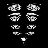 Μάτια και καθορισμένη διανυσματική συλλογή εικονιδίων ματιών Κοιτάξτε και εικονίδια οράματος Απομονωμένη διανυσματική απεικόνιση  Στοκ Εικόνες