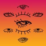 Μάτια και καθορισμένη διανυσματική συλλογή εικονιδίων ματιών Κοιτάξτε και εικονίδια οράματος Απομονωμένη διανυσματική απεικόνιση  Στοκ Εικόνα