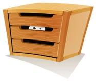 Μάτια μέσα στο ξύλινο συρτάρι διανυσματική απεικόνιση