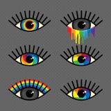 Μάτια ουράνιων τόξων καθορισμένα Στοκ Εικόνες