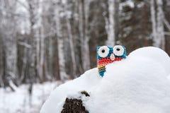 Μάτια που κολλούν από τα πλεκτά snowdrift παιχνίδια στοκ φωτογραφία με δικαίωμα ελεύθερης χρήσης