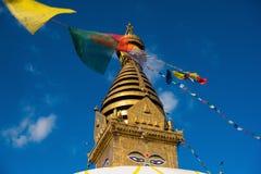 μάτια του Βούδα Μάτια φρόνησης του Βούδα σε Swayambhunath Stupa μετά από το σεισμό, Κατμαντού, Νεπάλ Στοκ εικόνα με δικαίωμα ελεύθερης χρήσης