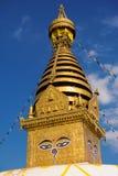 μάτια του Βούδα Μάτια φρόνησης του Βούδα σε Swayambhunath Stupa μετά από το σεισμό, Κατμαντού, Νεπάλ Στοκ Εικόνες