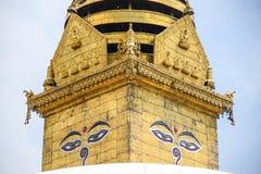 Μάτια του Βούδα σε Swayambhunath Stupa, Κατμαντού Στοκ εικόνα με δικαίωμα ελεύθερης χρήσης