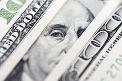 Μάτια του Benjamin Franklin ` s από έναν λογαριασμό εκατό-δολαρίων Το πρόσωπο του Benjamin Franklin στο τραπεζογραμμάτιο εκατό δο στοκ φωτογραφία με δικαίωμα ελεύθερης χρήσης