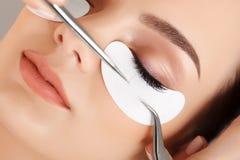 Μάτι γυναικών με μακρύ Eyelashes. Επέκταση Eyelash στοκ φωτογραφίες